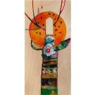 La nouvelle lune, de l'artiste Kim Durocher, Tableau, Techniques mixtes sur bois, Création unique, dimension : 16 x 8 po de largeur