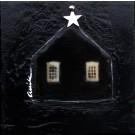 La petite maison étoilée, de l'artiste Anik Lachance, Tableau, Techniques mixtes, Création unique, dimension : 6 x 6 po de largeur