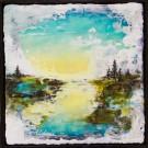 La rivière (t.encadré), de l'artiste Andrée-Anne Laberge, Tableau, Encaustique sur bois, Création unique, dimension : 12 x 12 po de largeur