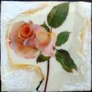 La rose (de l'amour), de l'artiste Anik Lachance, Tableau, Techniques mixtes, Création unique, dimension : 6 x 6 po x 2 po d'épaisseur