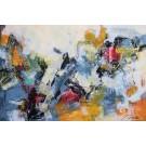 La traversée, de l'artiste Marie-Claire Plante, Tableau, Techniques mixtes, acrylique, encre, pigments secs, fusain, pastel, crayon, Création unique, dimension 40 x 60 pouces de largeur