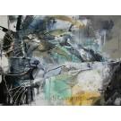 La fonte, de l'artiste Sandy Cunningham, Tableau, Techniques mixtes sur toile, Création unique, dimension : 36 x 48 po de largeur