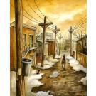 Carte de souhaits 7x5, Hedleyville, de l'artiste Félix Girard, dimension : 7 x 5 pouces largeur, sans texte, avec enveloppe, Vous pouvez inscrire votre message à l'intérieur, Carte vendue à l'unité