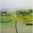La voie est libre, de l'artiste Sophie Ouellet, Tableau, acrylique sur toile cartonnée, Création unique, dimension : 12 x 12 po de largeur
