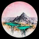 Le dernier sommet, de l'artiste Andrée-Anne Laberge, Tableau, Encaustique sur bois, Création unique, Dimension : Rond 24 pouces