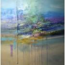 Le seuil, de l'artiste Sophie Ouellet, Tableau, acrylique sur toile et collage, Création unique, dimension : 40 x 40 po de largeur