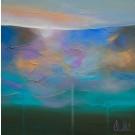 Le vertige de l'inconnu, de l'artiste Sophie Ouellet, Tableau, Acrylique sur toile cartonnée, Création unique, dimension : 12 x 12 po de largeur