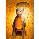 Carte de souhaits 7x5, Le beau temps sous la pluie, de l'artiste Félix Girard, dimension : 7 x 5 pouces largeur, sans texte, avec enveloppe  Vous pouvez inscrire votre message à l'intérieur.  Carte vendue à l'unité