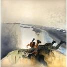 Le grand saut ensemble... ou lâcher prise !?, de l'artiste Annie Lévesque, Tableau, acrylique, encre et graphite sur toile brute, Création unique, dimension : 60 x 60 po de largeur