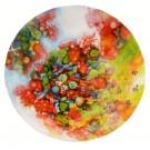 Le récif, de l'artiste Marie-Pier Sanfaçon, Tableau, Techniques mixtes sur bois, Création unique, dimension : 18 po rond sur 1 1/8 d'épaisseur