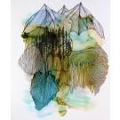 Le souffle des montagnes (o.encadrée), de l'artiste Nancy Létourneau, Oeuvre sur papier Yupo, médium encre à l'alcool et acrylique, Création unique, dimension 22 x 18  de largeur