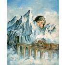 Carte de souhaits 7x5, Le train, de l'artiste Félix Girard, dimension : 7 x 5 pouces largeur, sans texte, avec enveloppe, Vous pouvez inscrire votre message à l'intérieur, Carte vendue à l'unité