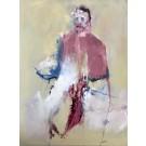 Le cardinal au déjeuner, de l'artiste Benoit Genest Rouillier, Tableau, Acrylique sur toile, Création unique, dimension : 48 x 36 po de largeur
