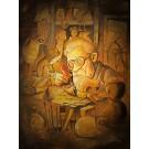 Carte de souhaits 7x5, Le marionnettiste, de l'artiste Félix Girard, dimension : 7 x 5 pouces largeur, sans texte, avec enveloppe, Vous pouvez inscrire votre message à l'intérieur, Carte vendue à l'unité