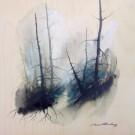 Lenitivo Foresta II, de l'artiste Marie-Claude Bouchard, Tableau, Acrylique sur bois, Création unique, dimension 20 x 20 pouces de largeur
