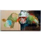 L'ennui (diptyque), de l'artiste Kim Durocher, Tableau,  Acrylique et technique mixte sur bois, format total de l'oeuvre : 12 x 24 pouces de largeur
