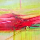 Les liens du sang, de l'artiste Sophie Ouellet, Tableau, acrylique sur toile et collage, Création unique, dimension : 36 x 36 po de largeur