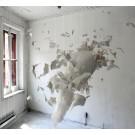 Les nostalgiques (partie I), de l'artiste Jérôme Trudelle, Installation, Médium utilisé : bandelettes de plâtre et fils de tissus, Création unique, dimension : 45 x 55 x 60 pouces, vue A