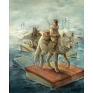 Les passeurs, affiche, de l'artiste Félix Girard, sur papier Hahnemühle Fine Art Photo Rag avec de l'encre à pigment, dimension : 18 x 14 pouces de largeur, affiche prête à être encadrée