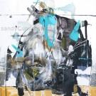 Le temps des hirondelles, de l'artiste Sandy Cunningham, Tableau, Techniques mixtes, Création unique, dimension : 18 x 18 po de largeur