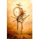Carte de souhaits 3.5x2.5, L'homme orchestre, de l'artiste Félix Girard, dimension : 3.5 x 2.5 pouces largeur, sans texte, avec enveloppe, Vous pouvez inscrire votre message à l'intérieur, Carte vendue à l'unité