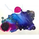 Médusé (o.encadrée), de l'artiste Marie-Pier Sanfaçon, Sur papier Yupo, oeuvre encadrée, techniques mixtes, Création unique, dimension : 11 x 14 po de largeur