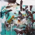 Maître des 4 vents, de l'artiste Sandy Cunningham, Tableau, Techniques mixtes, Création unique, dimension : 24 x 24 po de largeur