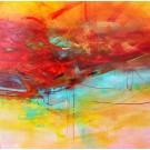 Marcher avec le temps, de l'artiste Sophie Ouellet, Tableau, acrylique sur toile, Création unique, dimension : 36 x 36 po de largeur