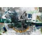 Marée haute, de l'artiste Sandy Cunningham, Tableau, Techniques mixtes sur toile, Création unique, dimension : 48 x 72 po de largeur