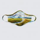 Masque facial lavable, modèle 'Lumière du Bas St-Laurent', Ni Vu Ni Cornu, Auteure Annie Lévesque, artiste, Art portable, 3 tailles M à XL, Fait au Canada