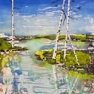 Moment de paix, de l'artiste Andrée-Anne Laberge, Tableau, Encaustique sur bois, Création unique, dimension : 14 x 14 po de largeur