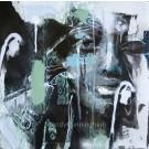 Monotropa uniflora, de l'artiste Sandy Cunningham, *Série : La flore sauvage du Québec, Tableau, Techniques mixtes sur toile, Création unique, dimension : 16 x 16 po de largeur