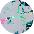 Moon Walk, de l'artiste Marie Chantal Le Breton, Tableau, Acrylique sur bois, Création unique, dimension : 28 po, rond