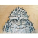 Mountain Man (Front), tableau de l'artiste Félix Girard, Tableau, sur bois, Acrylique et graphite, Création unique, dimension : 12 x 16 po de largeur