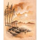 Carte de souhaits 7x5, Muuratsalo, de l'artiste Félix Girard, dimension : 7 x 5 pouces largeur, sans texte, avec enveloppe, Vous pouvez inscrire votre message à l'intérieur., Carte vendue à l'unité