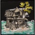 Nostalgie (t.encadré), de l'artiste Andrée-Anne Laberge, Tableau, Encaustique sur bois, Création unique, dimension : 12 x 12 po de largeur