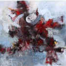 Nouvel élan, de l'artiste Marie-Claire Plante, Tableau, Techniques mixtes, acrylique, encre, pigments secs, fusain, pastel, crayon, Création unique, dimension 48 x 48 pouces de largeur