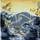Nymphe de rivière, de l'artiste Sandy Cunningham, Tableau, Techniques mixtes sur toile, Création unique, dimension : 36 x 36 po de largeur