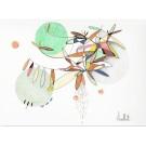Offrir son soutien (o.encadrée), de l'artiste Sophie Ouellet, Oeuvre sur papier sans acides, Encre, pastel sec et graphite, Création unique, dimension : 9 x 12 po de largeur