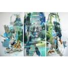 Om (triptyque), de l'artiste Sandy Cunningham, Tableau, Techniques mixtes, 3 pièces, Création unique, dimension chaque unité : 60 x 30 pouces, format total de l'oeuvre : 60 x 90 pouces de largeur