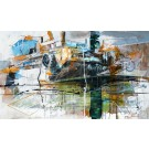 Paysage estival, de l'artiste Sandy Cunningham, Tableau, Acrylique sur toile, Création unique, dimension 24 x 40 pouces de largeur