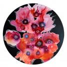 Perdre la tête à travers les pavots, de l'artiste Nancy Létourneau, médium encre à l'alcool et acrylique sur support de bois plaqué merisier russe, dimension 34 po de diamètre, vue 1