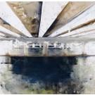 Perspective en marée noire, de l'artiste Annie Lévesque, Tableau, acrylique et crayon sur toile brute, dimension : 30 x 30 pouces de largeur