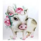 Affiche, Petit cochon rose, de l'artiste Katrinn Pelletier, dimension : 10 x 8 po de largeur