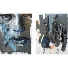 Placide (diptyque), de l'artiste Sandy Cunningham, Tableau, Techniques mixtes sur toile, 2 pièces, Création unique, dimension chaque unité : 30 x 24 pouces, format total de l'oeuvre : 30 x 48 pouces de largeur
