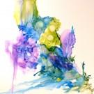 Plonger dans mes souvenirs (o.encadrée), de l'artiste Marie-Pier Sanfaçon, Sur papier Yupo, oeuvre encadrée, techniques mixtes, Création unique, dimension : 12 x 12 po de largeur