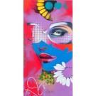 Carte de souhaits 7x4, Pop la vie, de l'artiste Marie Chantal Le Breton, dimension : 7 x 3.75 pouces largeur, sans texte, avec enveloppe  Vous pouvez inscrire votre message à l'intérieur.  Carte vendue à l'unité