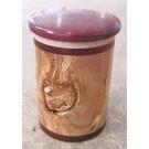 Pot, no 2, de l'artiste Richard Ouellet, pièce originale, faite de pommier coti, érable, amarante, 2 pièces, dimension : variée po