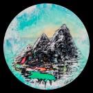 Reflet boréal, de l'artiste Andrée-Anne Laberge, Tableau, Encaustique sur bois, Création unique, Dimension : Rond 16 pouces