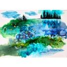 Refuge, de l'artiste Nancy Létourneau, Oeuvre sur bois, médium encre à l'alcool, Création unique, dimension 18 x 26 de largeur